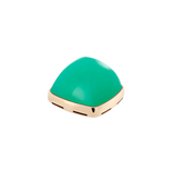 Chrysoprase and 18k yellow gold cabochon
