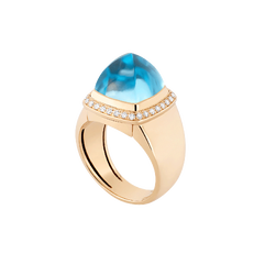 Swiss blue topaz Pain de Sucre ring