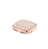 Plaque chevalière or rose 750/1000e et diamants