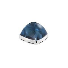 Blue London topaz and 18k white gold cabochon