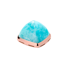 Larimar and 18k pink gold cabochon