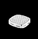 Plaque chevalière or blanc 750/1000e et diamants