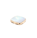 White mother-of-pearl and 18k yellow gold signet plake