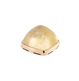Yellow rutilated quartz and 18k yellow gold cabochon