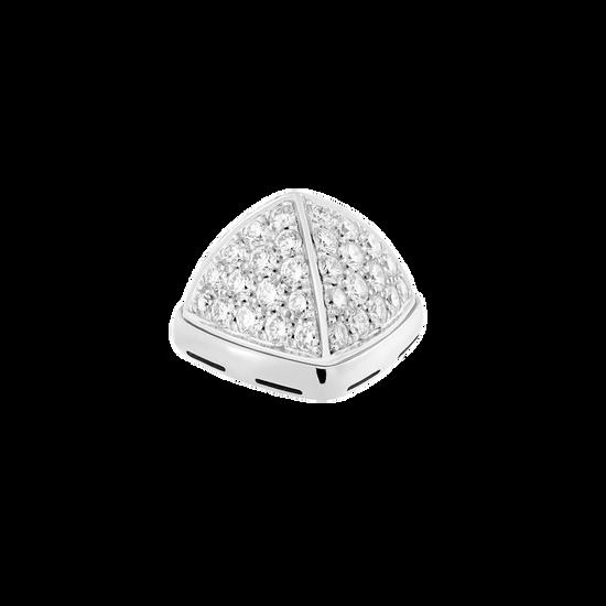 Cabochon or blanc 750/1000e et diamants