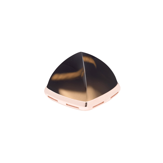 Smoky quartz and 18k pink gold cabochon