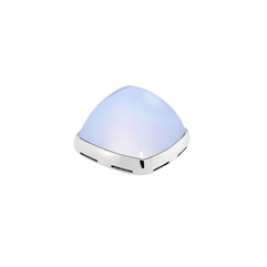 Chalcedony and 18k white gold cabochon
