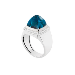 Blue london topaz Pain de Sucre ring