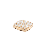 Plaque chevalière or jaune 750/1000e et diamants