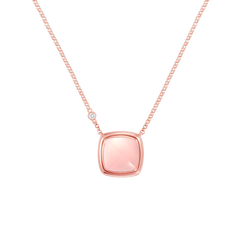 Pink quartz Pain de Sucre necklace