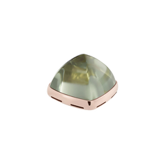 Prasiolite and 18k pink gold cabochon