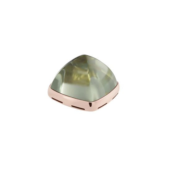 Prasiolite and 18k pink gold cabochon