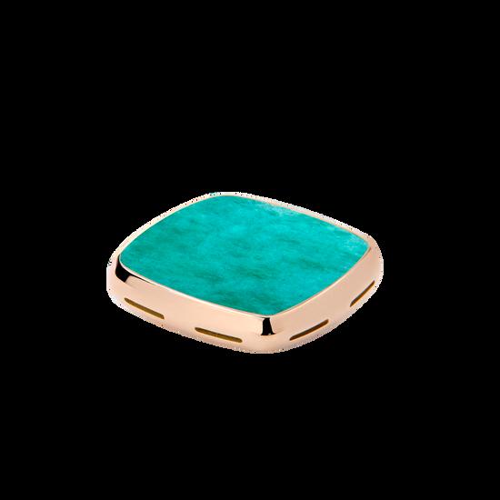 Placca per anello chevalière in oro rosa 18K con amazzonite