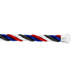 Blue, white, red and black Emblem cable