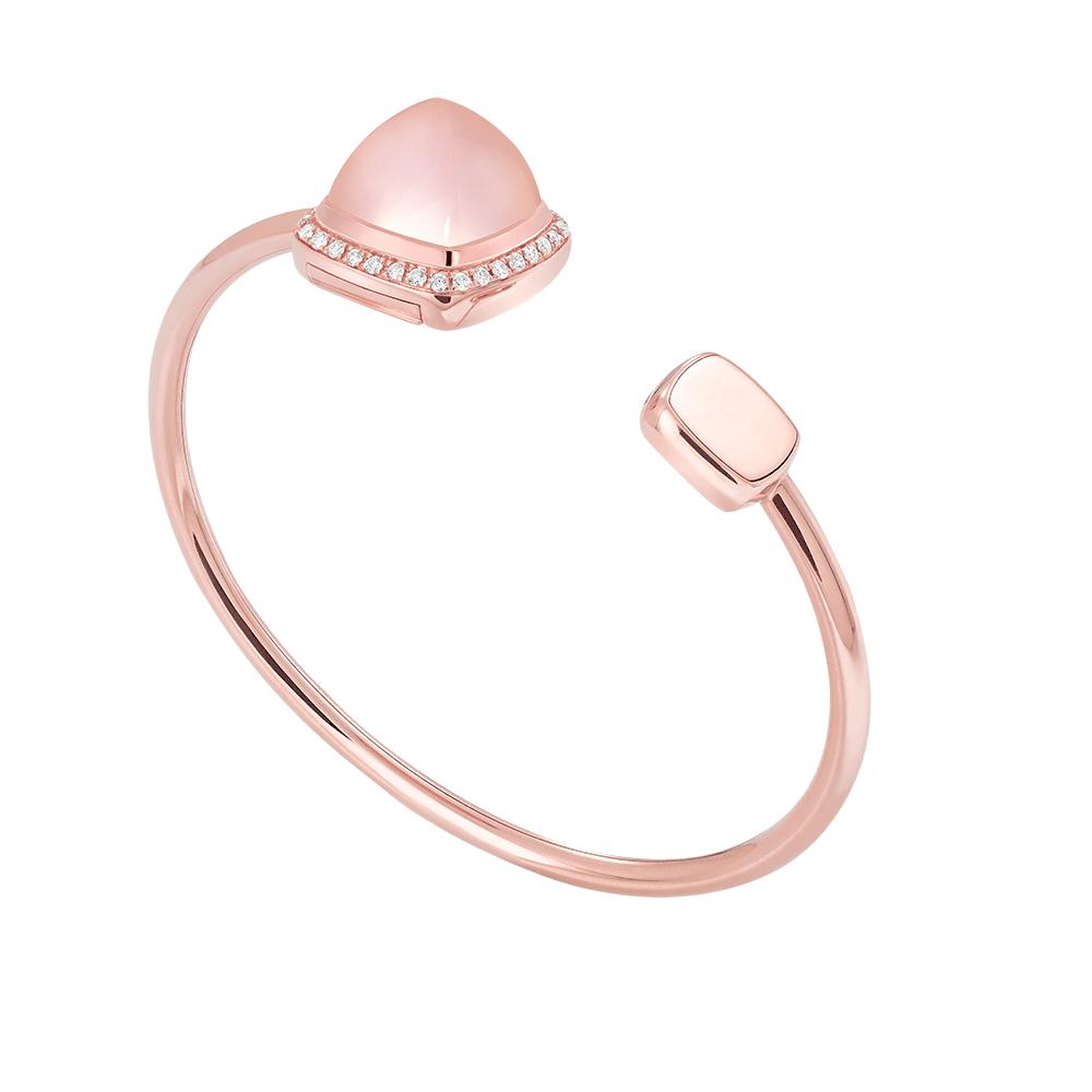 Pink quartz Pain de Sucre bangle