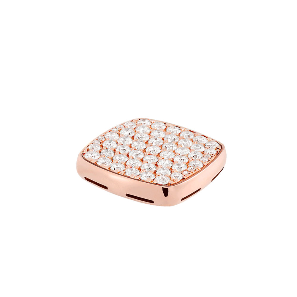 Diamonds and 18k pink gold signet plake