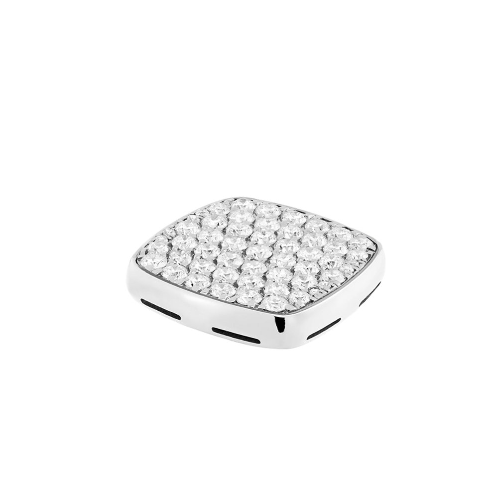 Diamonds and 18k white gold signet plake