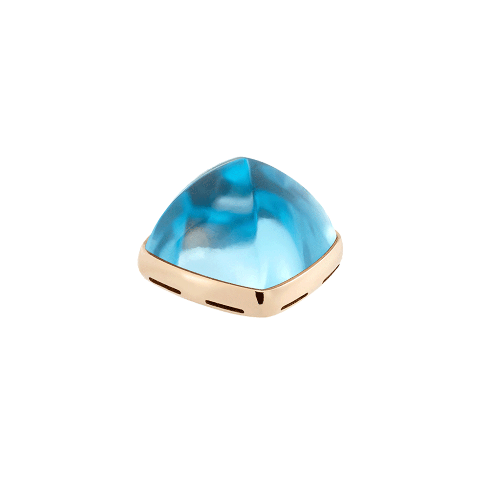 Swiss Blue topaz and 18k yellow gold cabochon