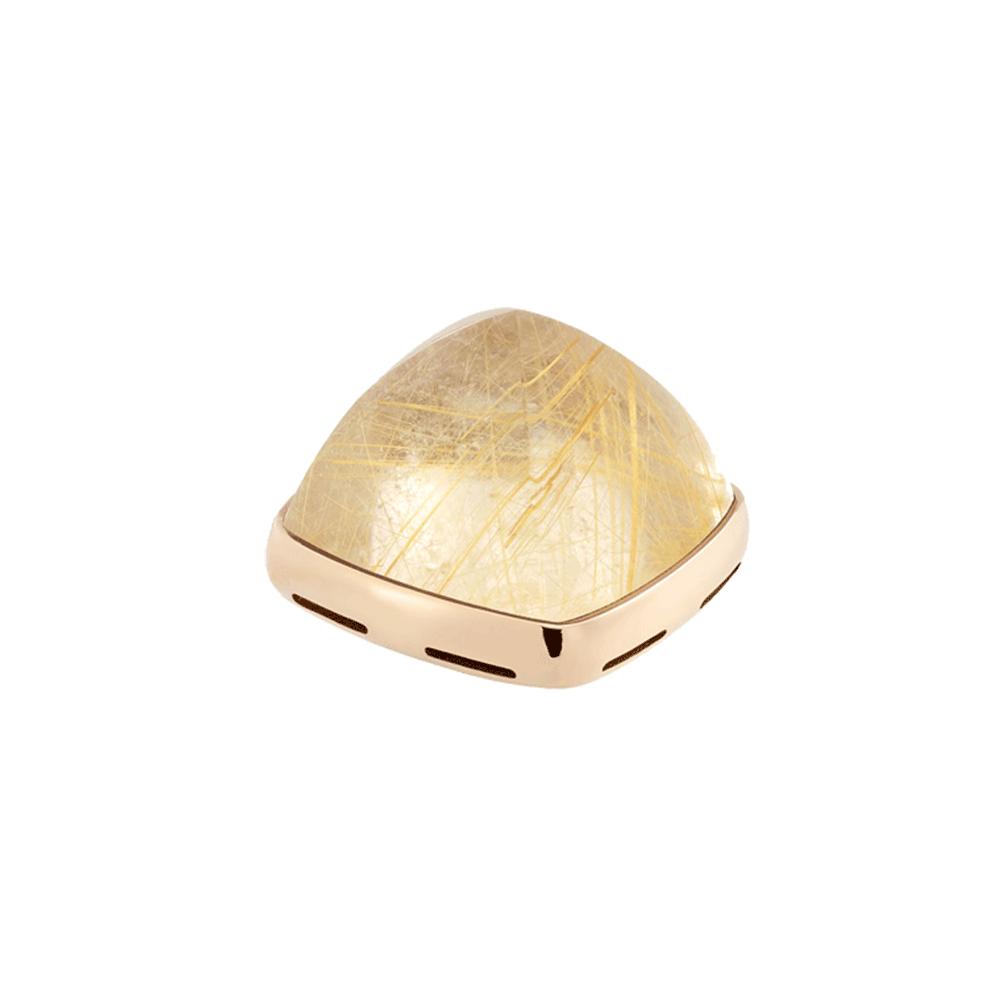 Cabochon quartz rutile jaune et or jaune 750/1000e