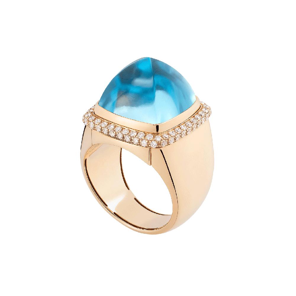 Anello Pain de Sucre topazio blu svizzero