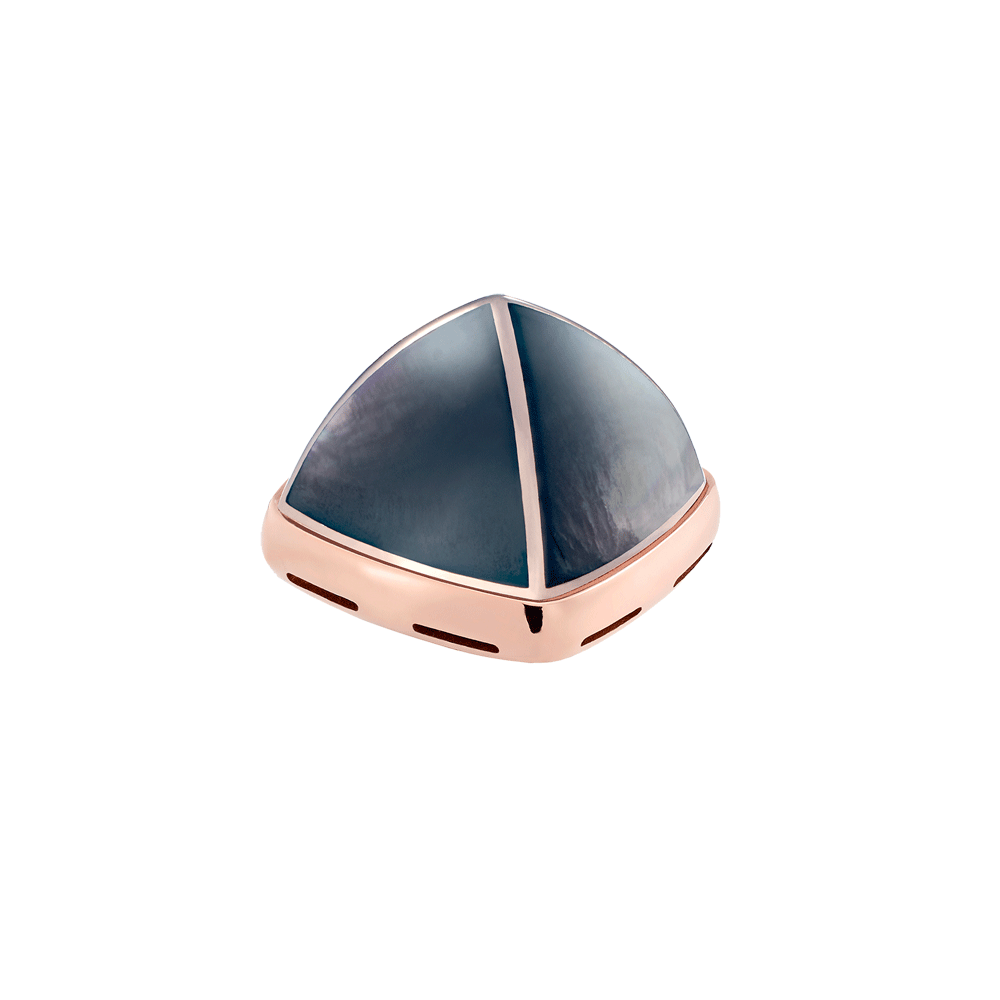 Grey mother-of-pearl and 18k pink gold cabochon