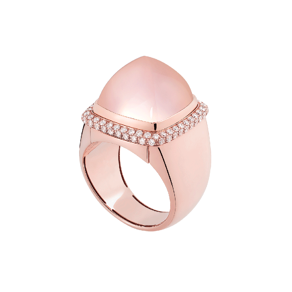 Pink quartz Pain de Sucre ring