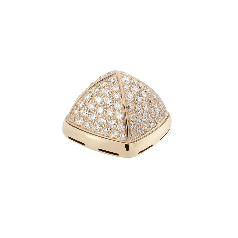Cabochon or jaune 750/1000e et diamants